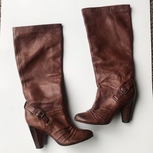 Frye Bethany strappy soft brown knee high boot 6.5